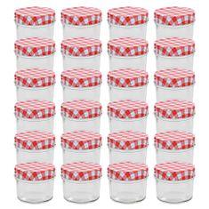 shumee Stekleni kozarci z belimi in rdečimi pokrovi 24 kosov 110 ml