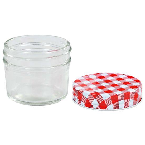 shumee Szklane słoiki na dżem, biało-czerwone pokrywki, 24 szt, 110 ml