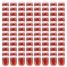 shumee Stekleni kozarci z belimi in rdečimi pokrovi 96 kosov 230 ml