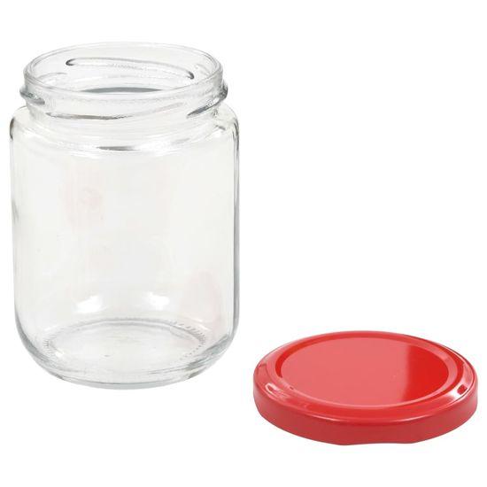 shumee Stekleni kozarci z rdečimi pokrovi 48 kosov 230 ml