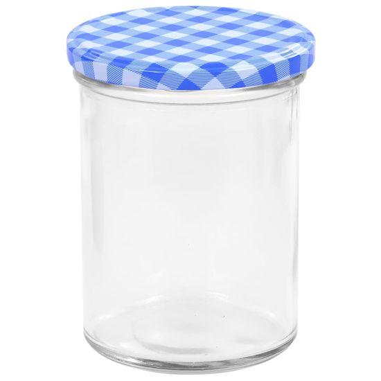 shumee Stekleni kozarci z belimi in modrimi pokrovi 96 kosov 400ml
