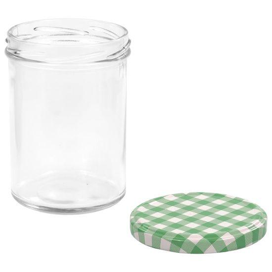 shumee Stekleni kozarci z belimi in zelenimi pokrovi 96 kosov 400 ml