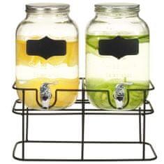 shumee Posode za pijačo 2 kosa s stojalom 2 x 4 L steklo