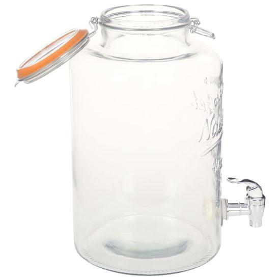 shumee Vrč za vodo s pipo XXL prozoren 8 L steklen