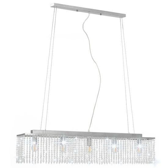 Greatstore Stropná lampa s krištáľovými korálkami strieborná 104 cm E14