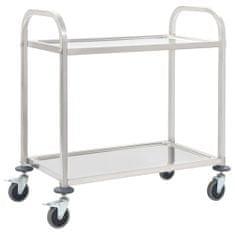 shumee Kuhinjski voziček 2-nadstropni 87x45x83,5 cm nerjaveče jeklo