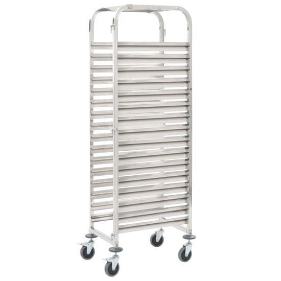shumee Kuhinjski voziček za 16 pladnjev 38x55x163 cm nerjavno jeklo