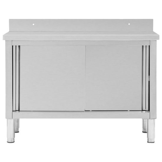 shumee Delovna miza z drsnimi vrati 120x50x95 cm nerjaveče jeklo