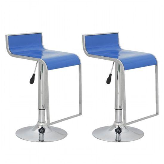 shumee Barski Stol z Nizkim Naslonjalom Modri, ABS Plastika (set 2 kosov)