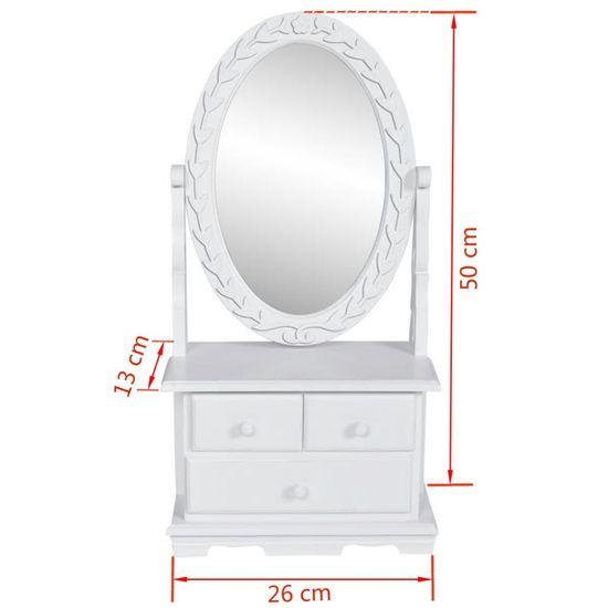 shumee  Toaletka z obrotowym, owalnym lustrem, MDF