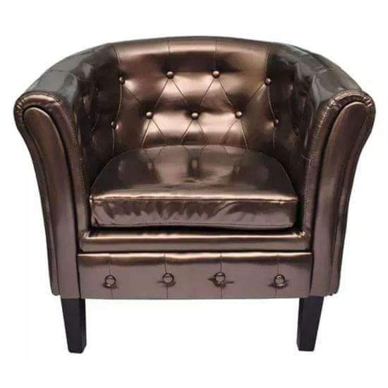 shumee Tubast stol iz rjavega umetnega usnja