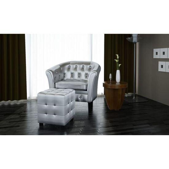 shumee Tubast stol s stolčkom za noge iz srebrnega umetnega usnja