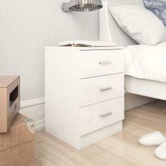 shumee Nočna omarica visok sijaj bela 38x35x56 cm iverna plošča