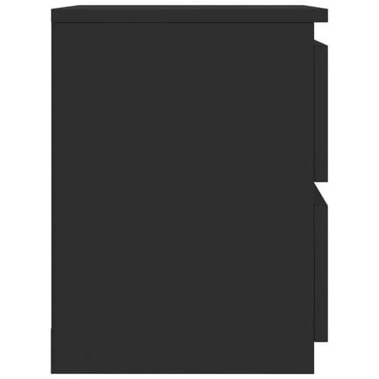 shumee 2 db magasfényű fekete forgácslap éjjeliszekrény 30x30x40 cm