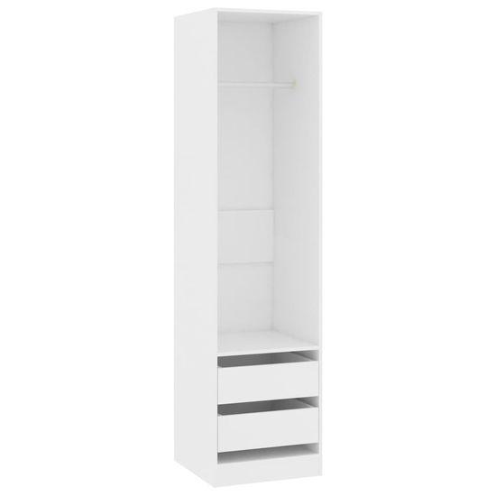 shumee Garderobna omara s predali bela 50x50x200 cm iverna plošča