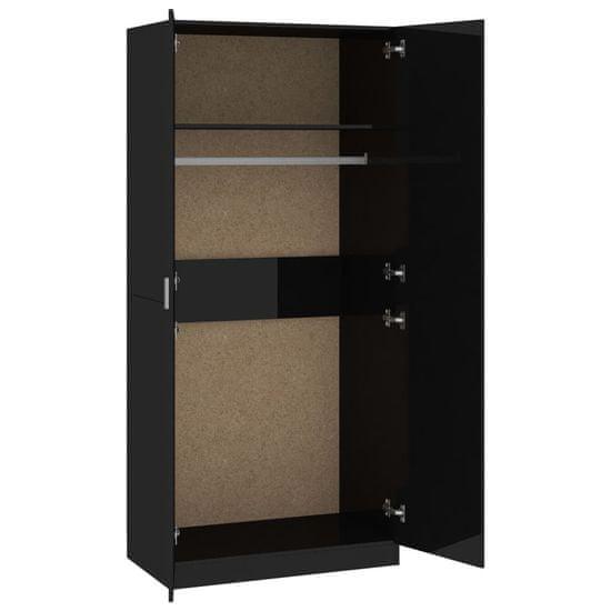 shumee Garderobna omara visok sijaj črna 90x52x200 cm iverna plošča