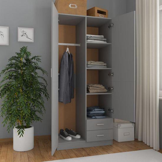 shumee szürke forgácslap ruhásszekrény 80 x 52 x 180 cm