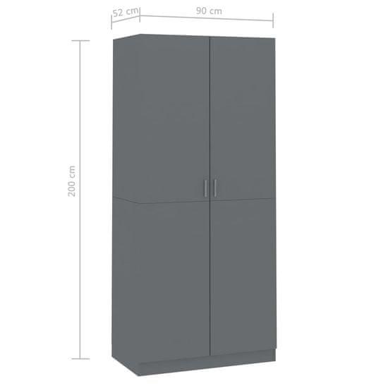 shumee Garderobna omara visok sijaj siva 90x52x200 cm iverna plošča