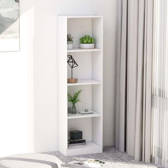 shumee Knjižna omara 4-nadstropna bela 40x24x142 cm iverna plošča
