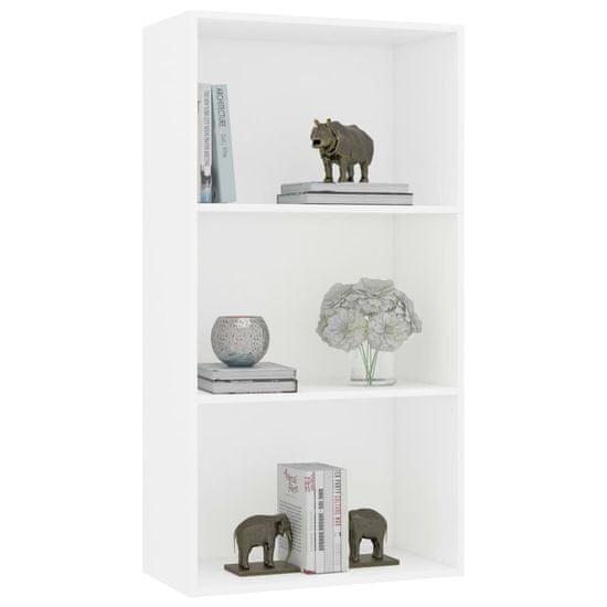 shumee Knjižna omara 3-nadstropna bela 60x30x114 cm iverna plošča
