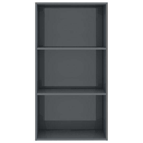 shumee Knjižna omara 3-nadstropna visok sijaj siva 60x30x114 cm
