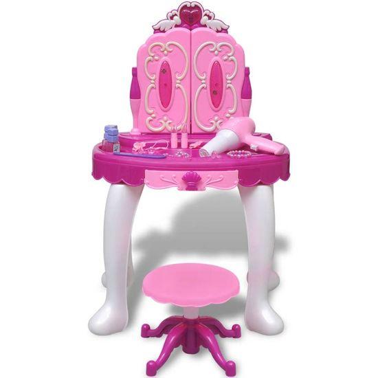 Greatstore Stoječa Otroška Toaletna Mizica s Tremi Ogledali, Svetilkami in Zvokom
