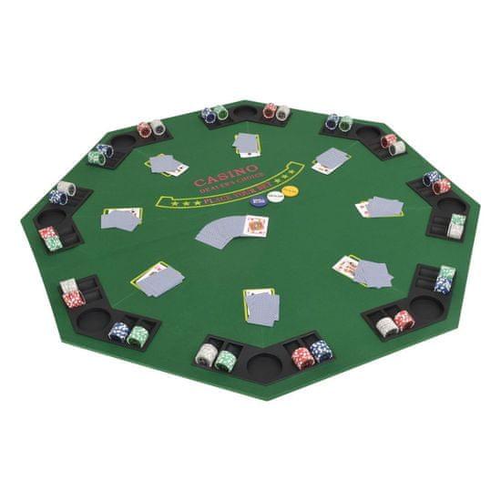 slomart Zložljivo poker namizje za 8 igralcev osemkotno zeleno