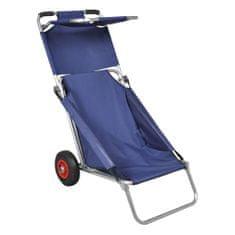 shumee Voziček za na plažo s kolesi prenosen in zložljiv moder