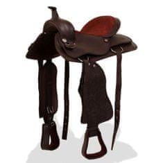 """shumee Westernové sedlo pro koně, set, pravá kůže 16"""" hnědé"""
