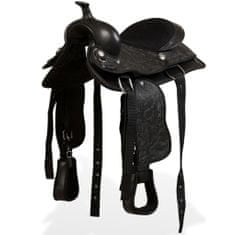 """shumee Westernové sedlo pro koně, set, pravá kůže 12"""" černé"""