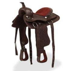 """shumee Westernové sedlo pro koně, set, pravá kůže 12"""" hnědé"""