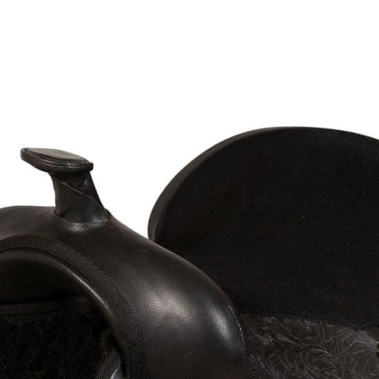 """shumee Western sedlo, uzda in oprsnica pravo usnje 13"""" črne barve"""