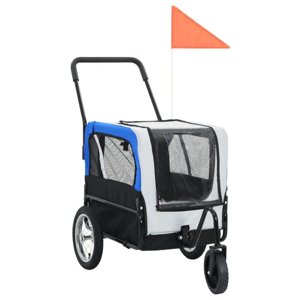 Vozík pro psa za kolo a na běhání 2 v 1 šedo-modrý