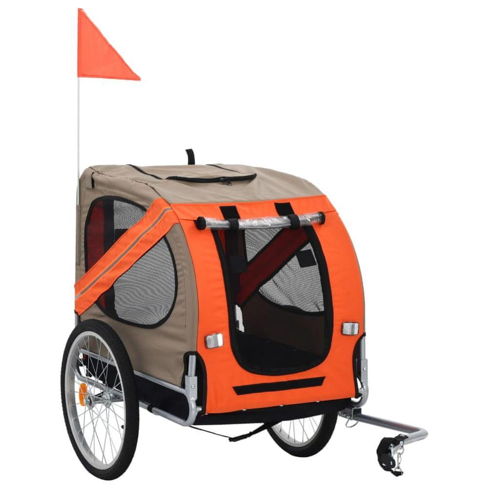 Vozík za kolo pro psa oranžovo-hnědý