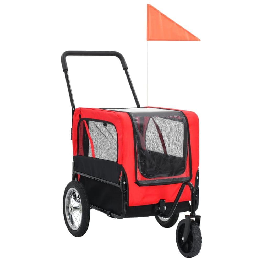 Vozík pro psa za kolo a na běhání 2 v 1 červeno-černý