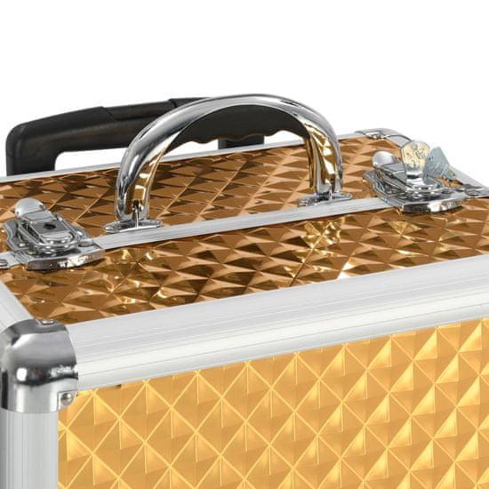 shumee Walizka kosmetyczna na kółkach, 35x29x45 cm, złota, aluminiowa