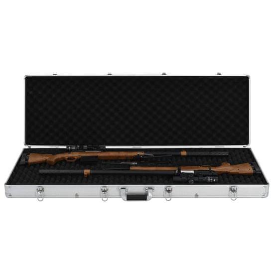 shumee Kufrík na zbraň strieborný 118x38x12 cm hliníkový