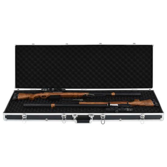 shumee Kufrík na zbraň čierny 118x38x12 cm hliníkový