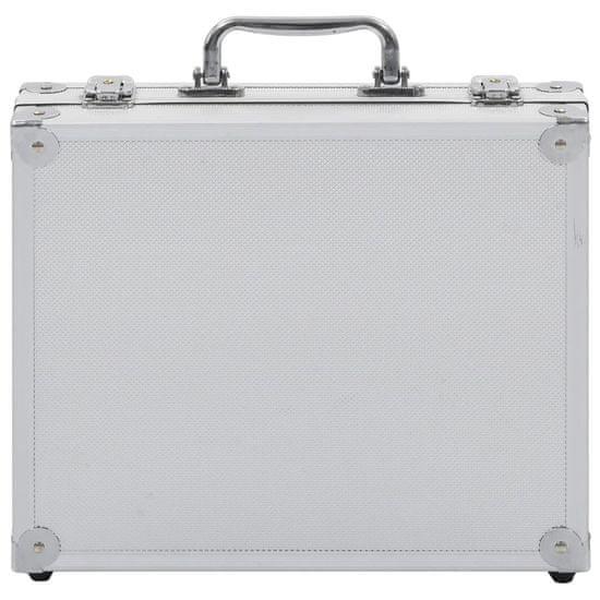 Greatstore Kovček za pištolo aluminij in ABS srebrn