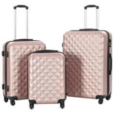 Sada skořepinových kufrů na kolečkách 3 ks růžová zlatá ABS