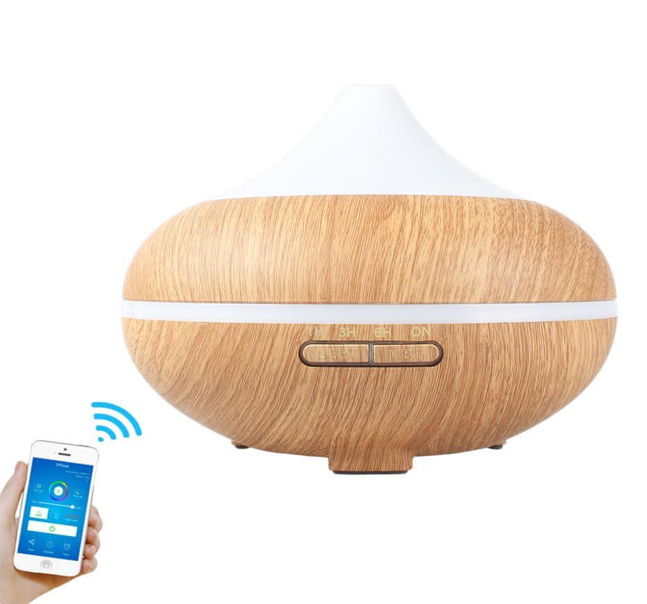 """GOLDSUN Aroma Difuzér SMART Wifi """"Volcano 500ml"""" osvěžovač a zvlhčovač vzduchu - Světlé dřevo"""