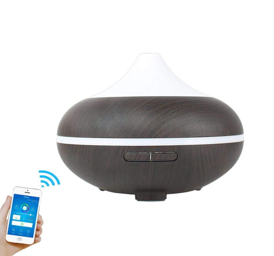 """GOLDSUN Aroma Difuzér SMART Wifi """"Volcano 500ml"""" osvěžovač a zvlhčovač vzduchu - Tmavé dřevo"""