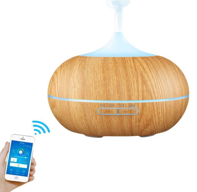 """GOLDSUN Aroma Difuzér Smart Wifi """"Easy Home 300ml"""" osvěžovač a zvlhčovač vzduchu - Světlé dřevo"""