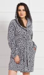 Vienetta Dámsky župan krátky s kapucňou Leopard farba sivá, velikost XXXL