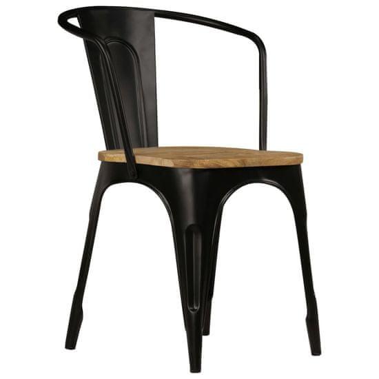 shumee Jedilni stoli 2 kosa črni trden mangov les