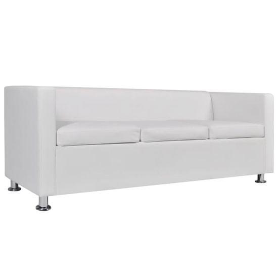 shumee Komplet kavčev umetno usnje trosed in dvosed bele barve