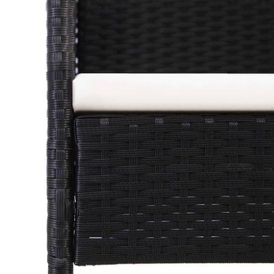 shumee 7-részes fekete polyrattan kültéri étkezőszett párnákkal