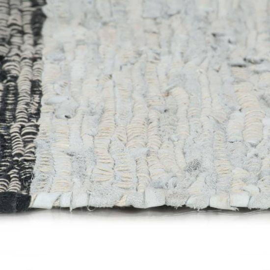 shumee Ročno pletena Chindi preproga iz usnja 120x170 cm siva in črna