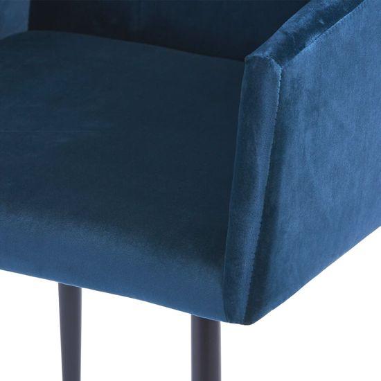 shumee Krzesła stołowe z podłokietnikami, 4 szt., niebieskie, aksamit