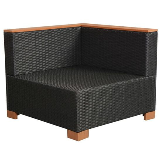 shumee Vrtna sedežna garnitura z blazinami 10-delna poli ratan črna